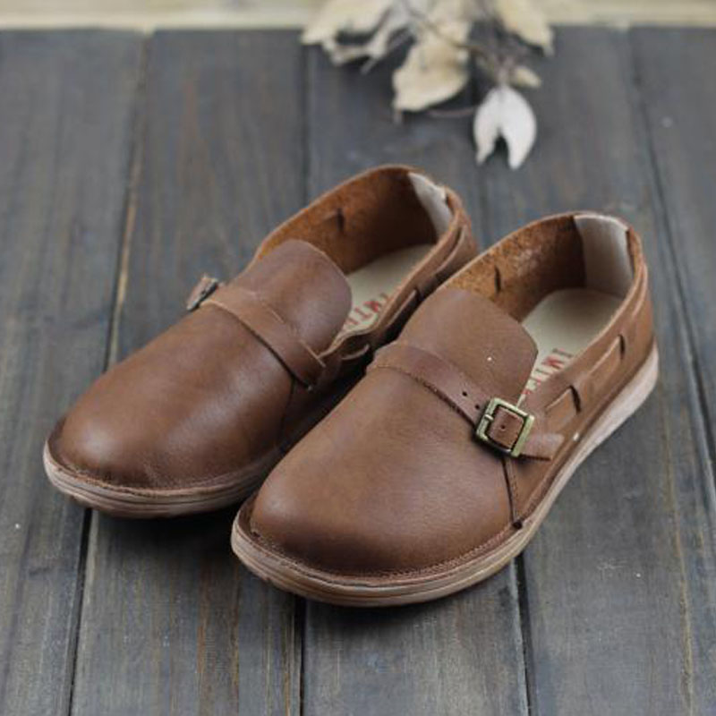 Women Oxford Shoes Genuine Leather Autumn Women's Shoes Round toe Slip on Ladies Flat S hoes Casual Footwear Woman (w9688-2) dadawen boy s girl s slip on loafers oxford shoes
