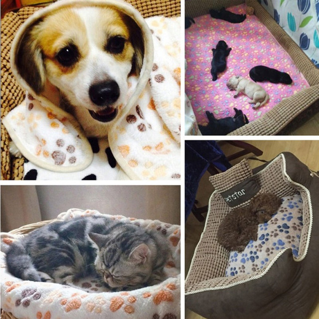 New Cute Dog Bed Mats Soft Flannel Fleece Paw Foot Print Warm Pet Blanket Sleeping Beds Cover Mat For Small Medium Dogs Cats 5