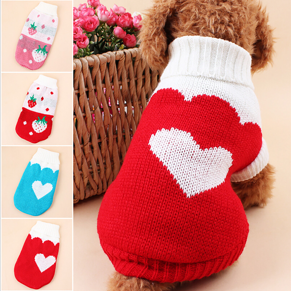 Lapel Strawberry Love Pet Sweater Pet Dog Clothes For Small Dogs Chihuahua Winter Clothing Warm Puppy Costume French Bulldog