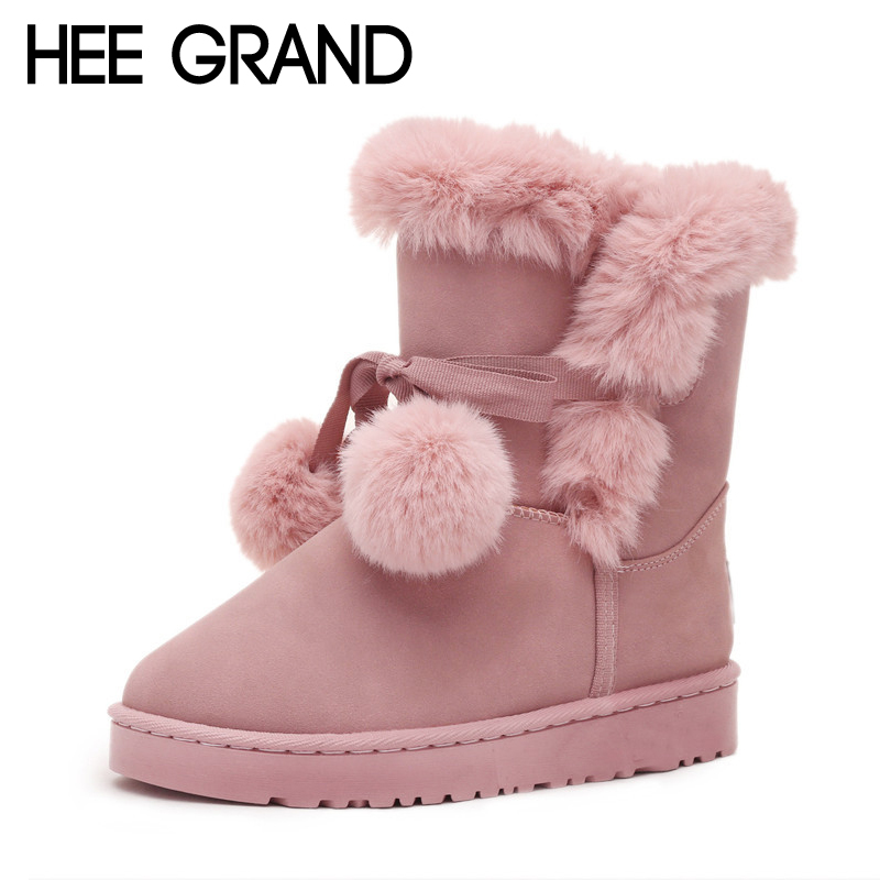 HEE GRAND Winter Pom Poms Flock Snow Boots Casual Slip On Warm Women Shoes Boots Suede Platform Shoes Woman Size 35-40 XWM206 hee grand sweet faux fur slippers fashion flats shoes woman slip on bowtie winter warm women shoes 4 colors size 36 41 xwt966