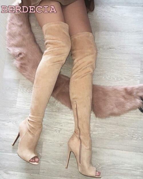 Peep Mince Long Talon En Daim À Genou Livraison Bottes noir Dames Qualité Bateau Sur 2017 Beige Date Toe Haute Cuisse Femme De Chaussures Le 8qxYz