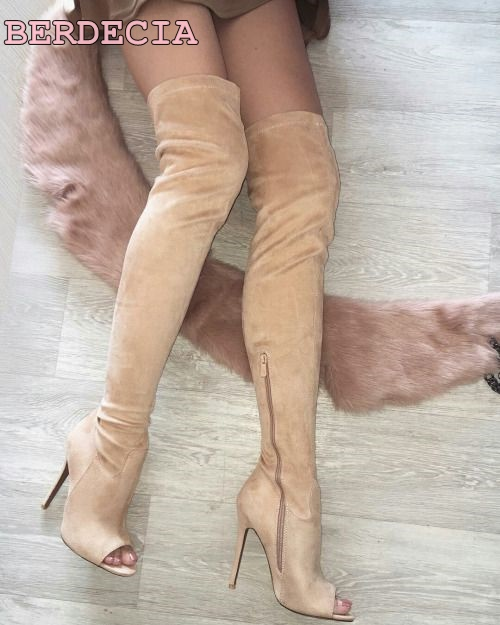 ladies over the knee suede boots peep toe thin heel thigh high boots 2017 newest woman shoes high quality long boots free ship newest peep toe high heel shoes 2017