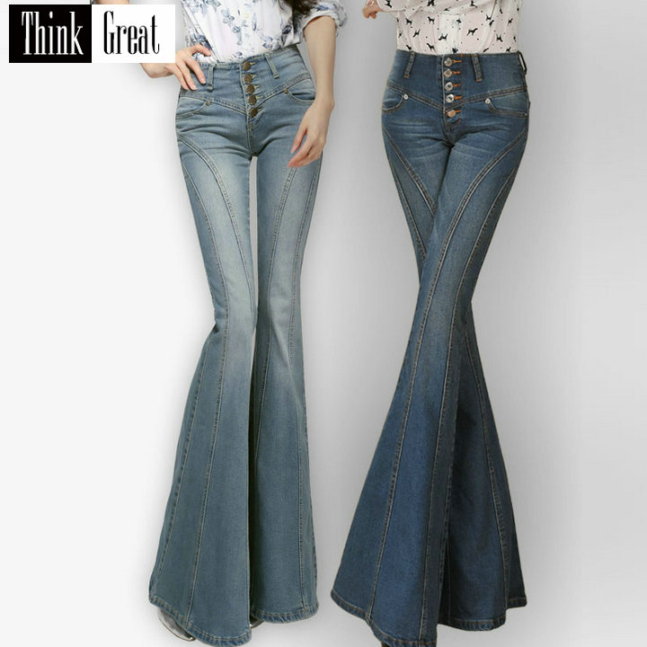 Autumn Women's Fashion Mid Waist Stretch Big Bell Bottom Jeans , Female Woman Elastic Flare Denim Trousers , Woman Jean Pants