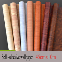 45CMX10M Wood Self Adhesive Wallpaper PVC Water Proof Wall Sticker For Furniture Kitchen