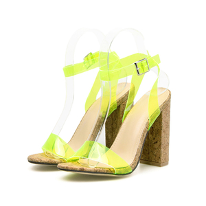 Image 4 - Kcenid Candy colors sexy PVC new womens sandals open toe pumps womens summer shoes wood high heels ankle strap sandals green