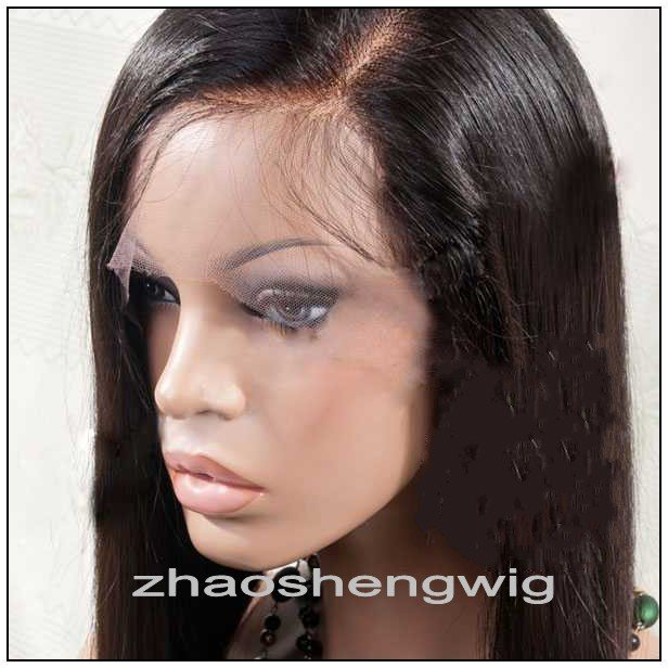 100% Indian remy straight hair full lace wig with 4*4 silk top
