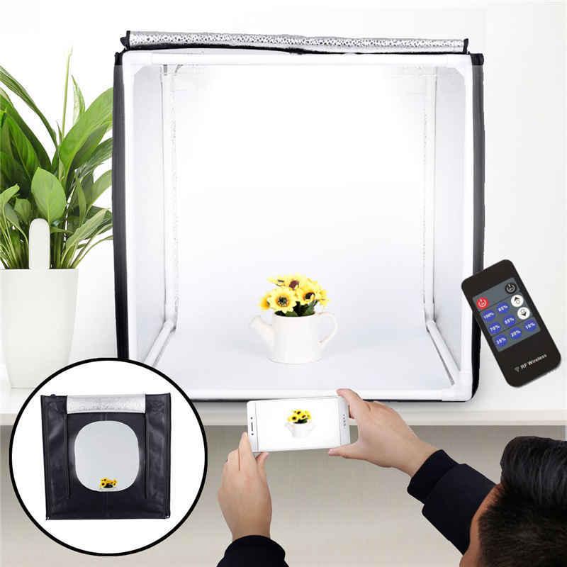 40*40*40CM RemoteControl Dimmi ng Studio Set Photo Softbox W ith LED light Simple Photogra phy Props with US/EU Plug