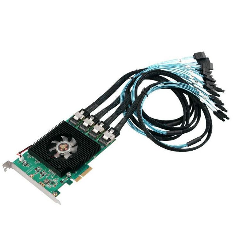 Nouveau jeu de puces Marvell 88SE9215 16 Ports SATA 6G PCI Express carte contrôleur PCI-e vers SATA III 3.0 avec mini sas vers 4 câbles sata