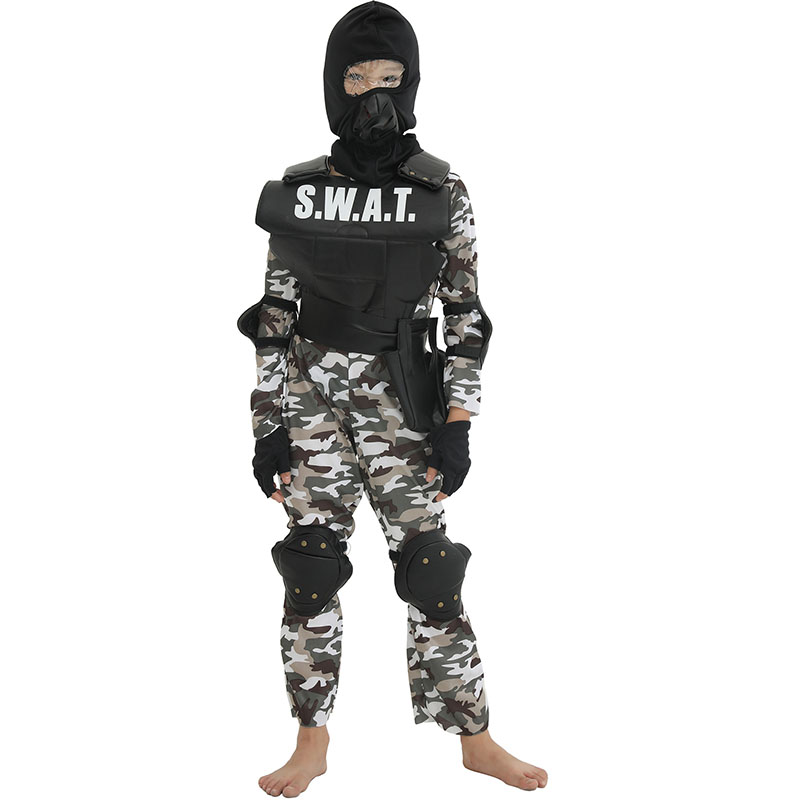 Boys Commando Costume Cosplay Kids Children Halloween Soldier Role Play Fancy Dress Up Outfit