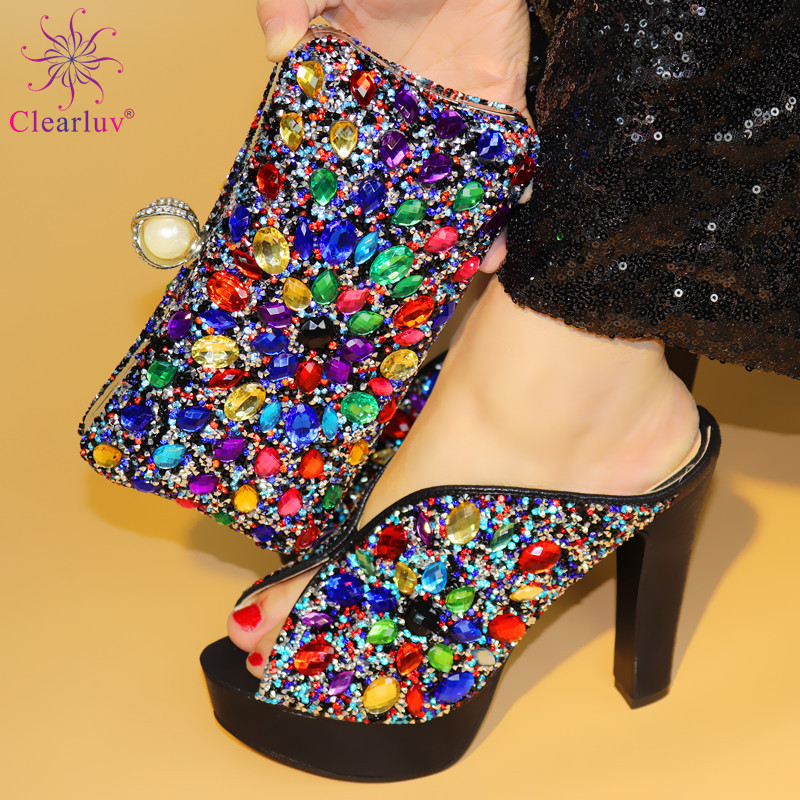 New Arrival Black Color African Women Matching Italian Shoes And Bag Set Decorated With Rhinestone Italian Ladies Shoe And Bag