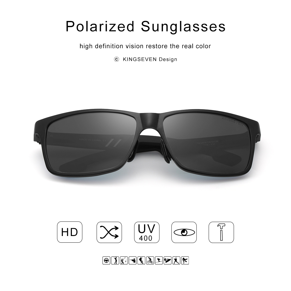 Men Polarized Sunglasses Aluminum Magnesium Sun Glasses Rectangle Shades For Men Black Silver