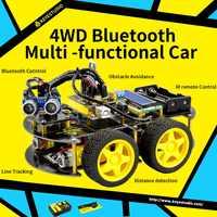 Keyestudio 4wd bluetooth multi-funcional diy carro robô para arduino robô educação programação + manual do usuário + pdf (online) + vídeo
