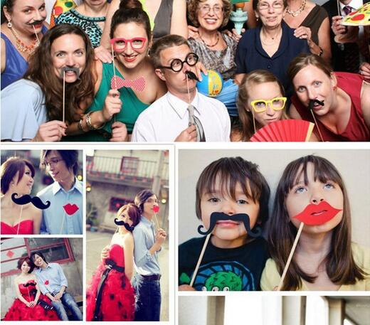 50pcs Christmas Party Photo Booth Props Photobooth Mustache On A Stick Funny Masks Gifts For Festival Decoration Photocall In From Home