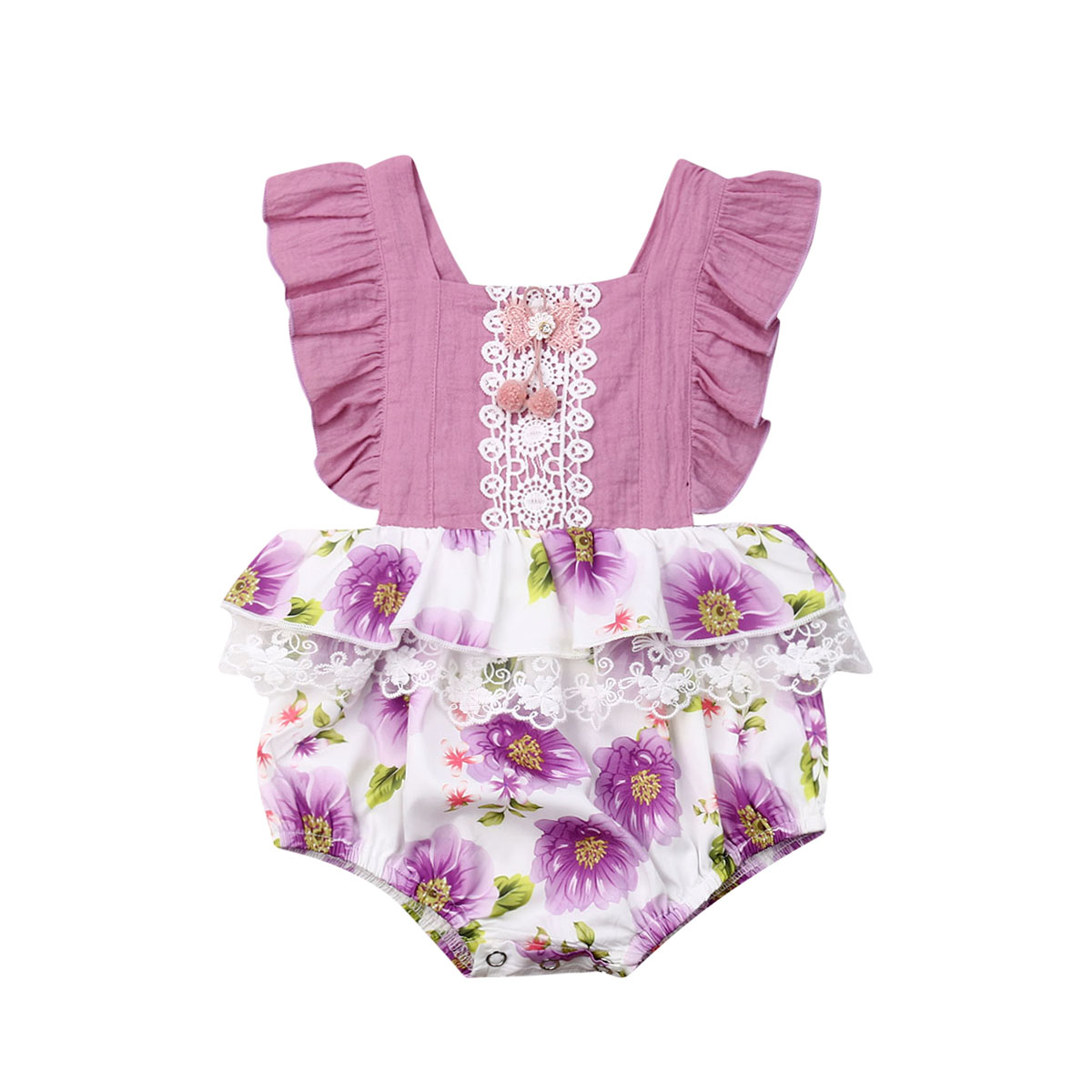 Toddler Newborn Baby Girls   Rompers   Lace Flower Ruffles Jumpsuit Pom Pom Playsuit Sunsuit Baby Girls Costumes Summer