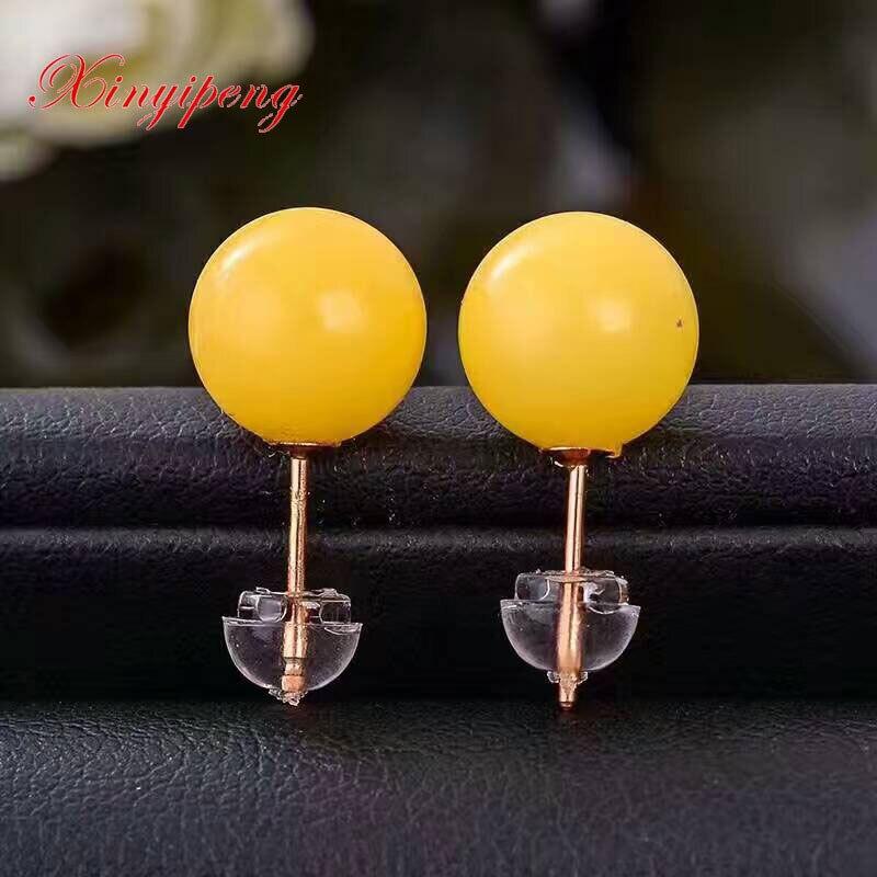 Xinyipeng 18 k or incrusté naturel cire d'abeille boucles d'oreilles boucles d'oreilles ambre femme bijoux fins Simple mode bijoux balle