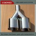 63mm entrada 89mm Super Qualidade Em Aço Inoxidável 1 para 2 Dual Sistema De Tubo De Escape Silenciador Universal Automóvel Carro de Ponta de Prata tubos