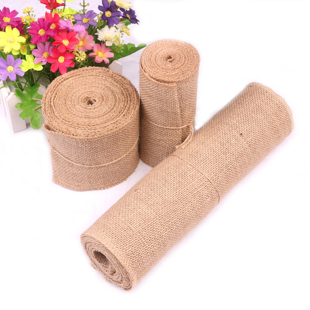 10M Vintage Table Runner Jute Burlap Hessian Ribbon Wedding Party Craft Decor table runner burlap birthday decorations in Table Runners from Home Garden