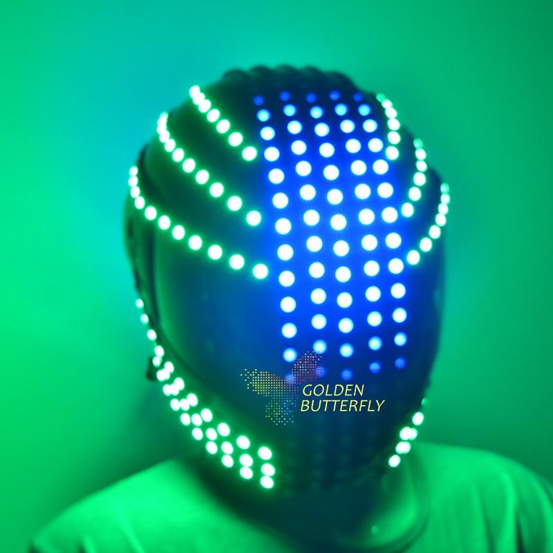 LED Helmet Sense Future Motion Helmet Monochrome/Full Color Waterfall Effect Glowing Helmets RGB Party DJ Robot Luminous Helmet