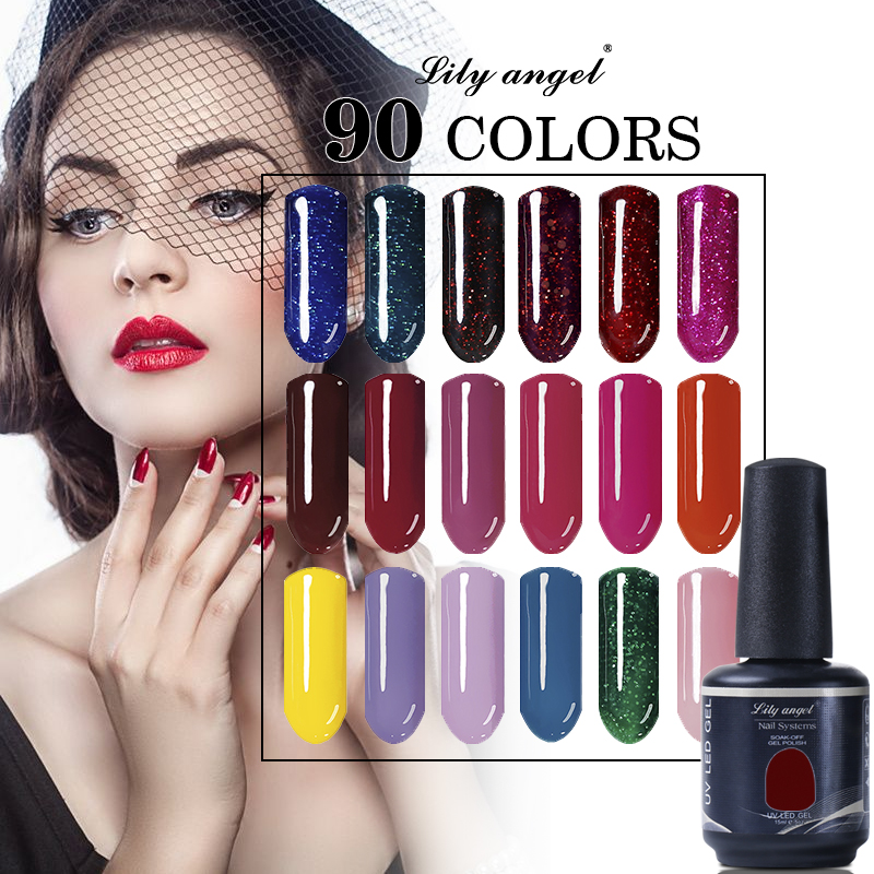 Lilyangel 15ml 90Color UV Gel Nail Polish Lampu LED Diperlukan Rendam Off UV Gel Nail Polish Varnish Semi Kekal kekal NO.73-90