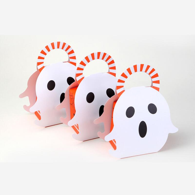 20pcs/lot Portable Christmas Halloween Packaging Gift Box Ghost Paper Candy Chocolate Biscuits Bag PartyHalloween Decor