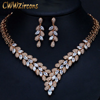 CWWZircons Gorgeous Cubic Zirconia Stone Dubai Necklace Earrings Gold Jewelry Sets For Women Wedding Party Accessories T288