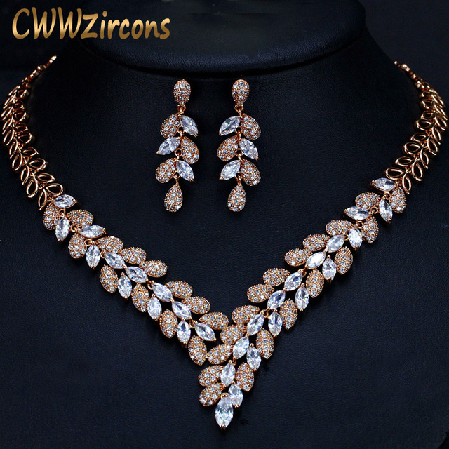 CWWZircons מדהים מעוקב Zirconia אבן דובאי שרשרת עגילי זהב נשים חתונה מסיבת אביזרי T288