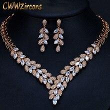 Cwwzircons lindo zircônia cúbica pedra dubai colar brincos conjuntos de jóias de ouro para festa de casamento feminino acessórios t288