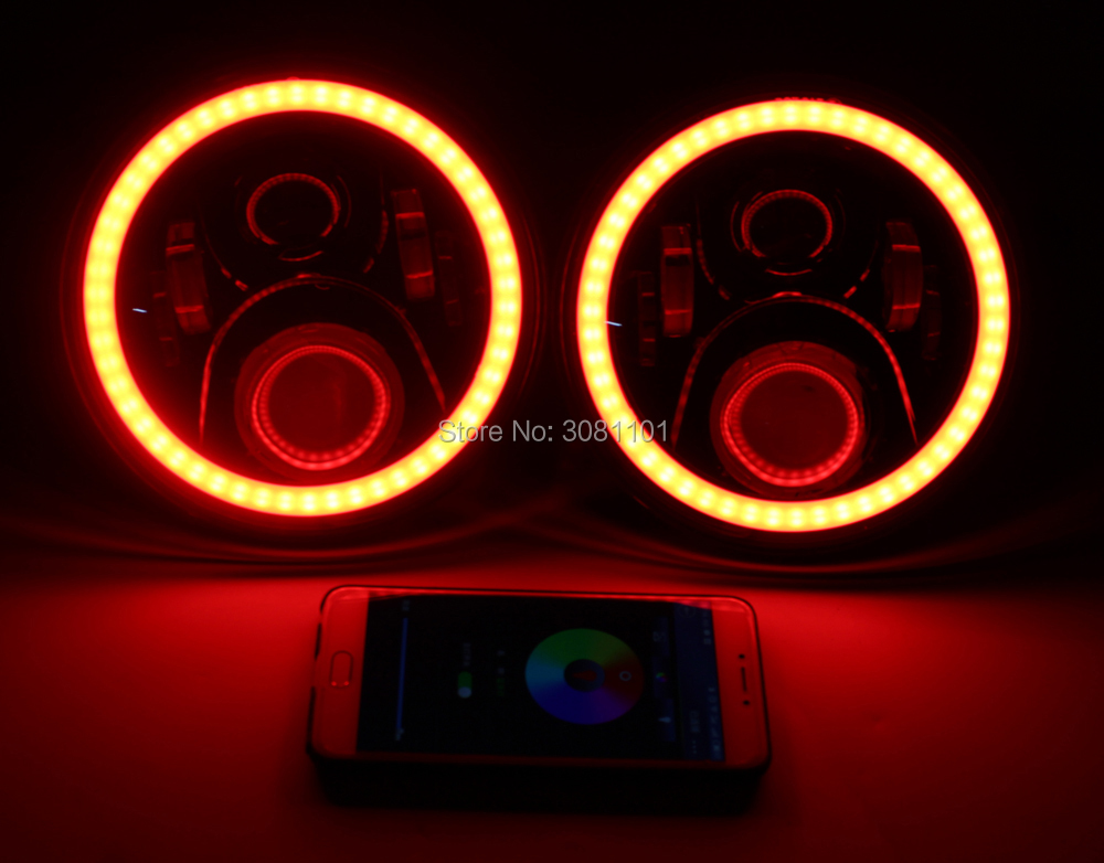 2PCS 7 quot 45W Round Offroad Bluetooth Remote Control LED Projector RGB Headlight H4 for2007 2014 Jeep Wrangler Unlimited JKU 4 Door in Car Light Assembly from Automobiles amp Motorcycles