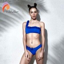 Andzhelika Bikini 2018 New Sexy Floral One Shoulder Top Bikini Sets Swimsuit Brazilian Swimsuit Beach Solid Monokini AK81966