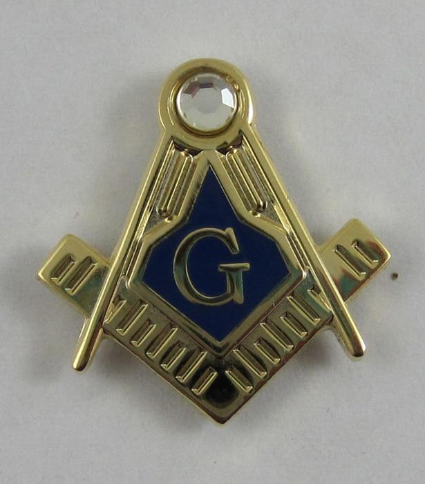 Zednářský zednář 19mm klopa Pin Blue Lodge, dárek, mosazný materiál drahokamu klopa pin