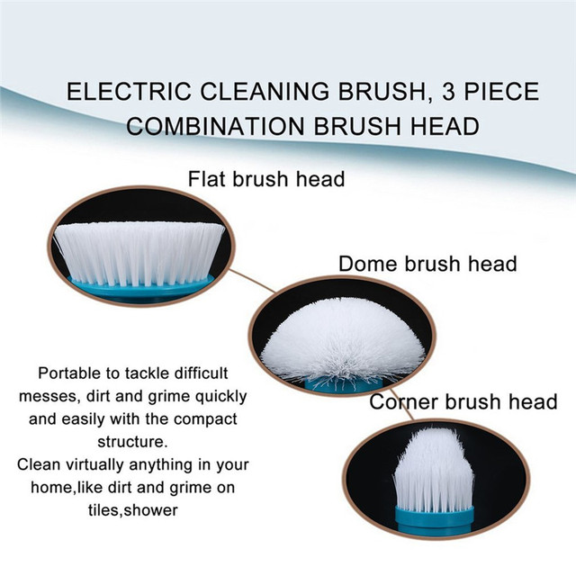 3 pcs/ set Turbo Scrub Electric Cleaning Brush Head Cleaner for Tile Bathroom Kitchen Multi-Purpose Uses
