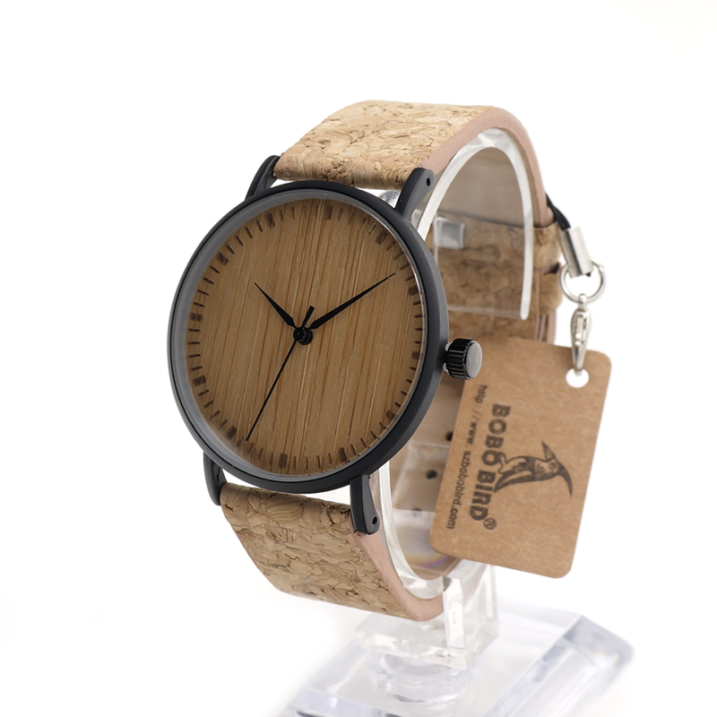 ФОТО BOBO BIRD E19 Wooden Watches Bamboo Dial Fashion Mujer Quartz Clock Leather Band Stainless Steel Case in Box for Ladies