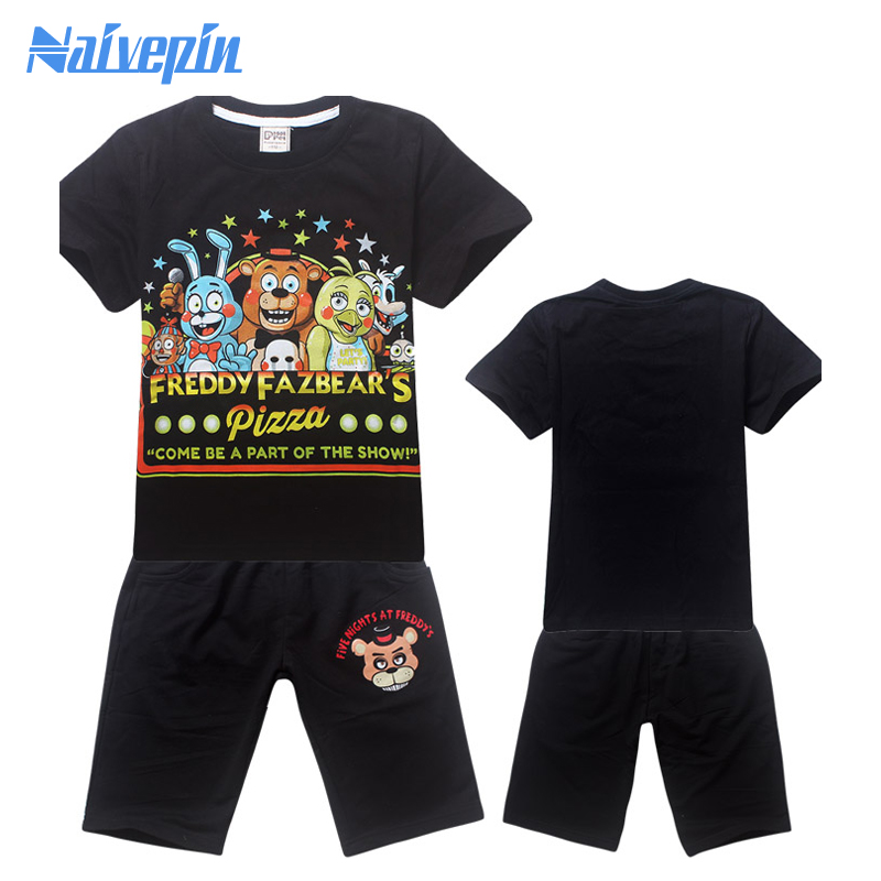 Tracksuit Girls Sports Suits Kids Clothes Pullover Short T shirt Sets Children Boys Cartoon Five night at freddy Clothing Sets