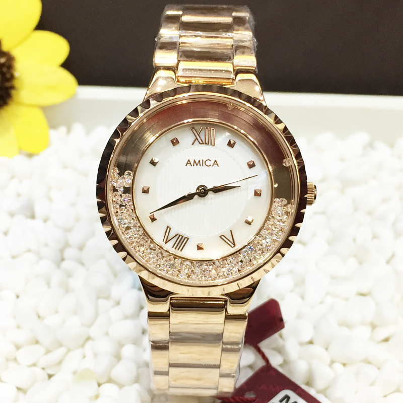 AMICA Luxury Brand 2018 Fashion noble diamond mirror stainless steel women waterproof quartz watch ladies watch free shipping цена