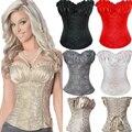2016 Nova Bowknots Querida Ata acima Para Trás Espartilho Menina strapless Desossado Basco Bustier Top Plus Size M-6XL corselet shaper magro