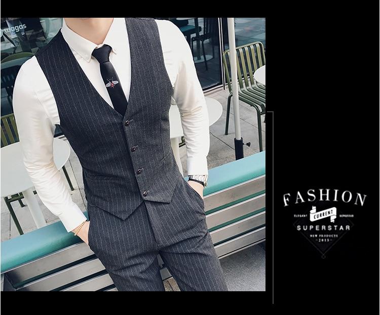 Джентльмен серый полосатый костюм из трех предметов Весна и лето мужские повседневные деловые вечерние костюмы для свиданий красивый мужской модный костюм - 5