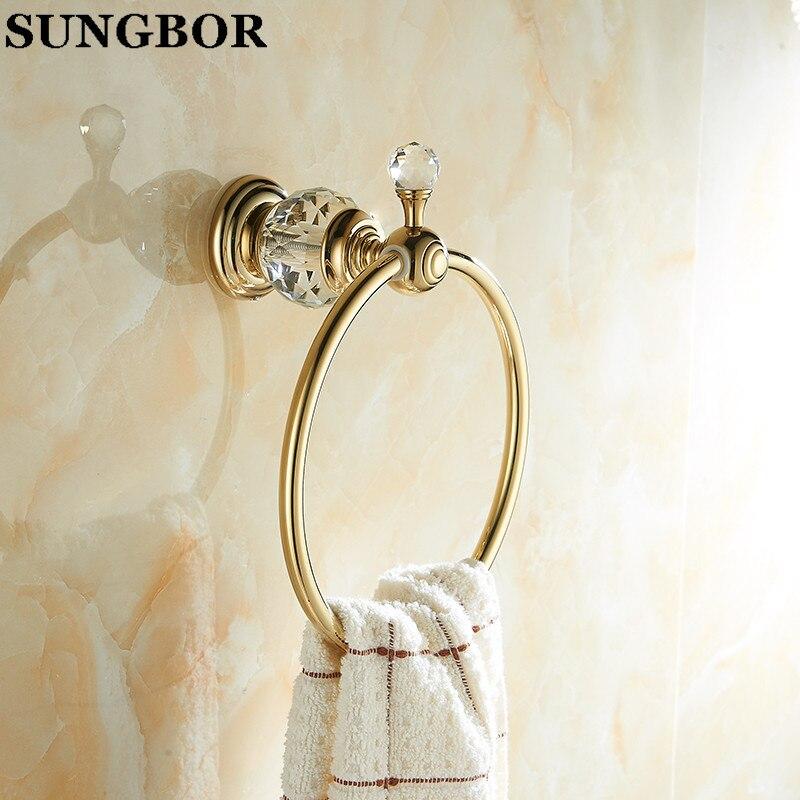 ФОТО Gold Brass Bathroom Towel Ring, Luxury Crystal& Diamond Full Copper Towel Holder Bathroom Hardware Accessories SJ-99906K