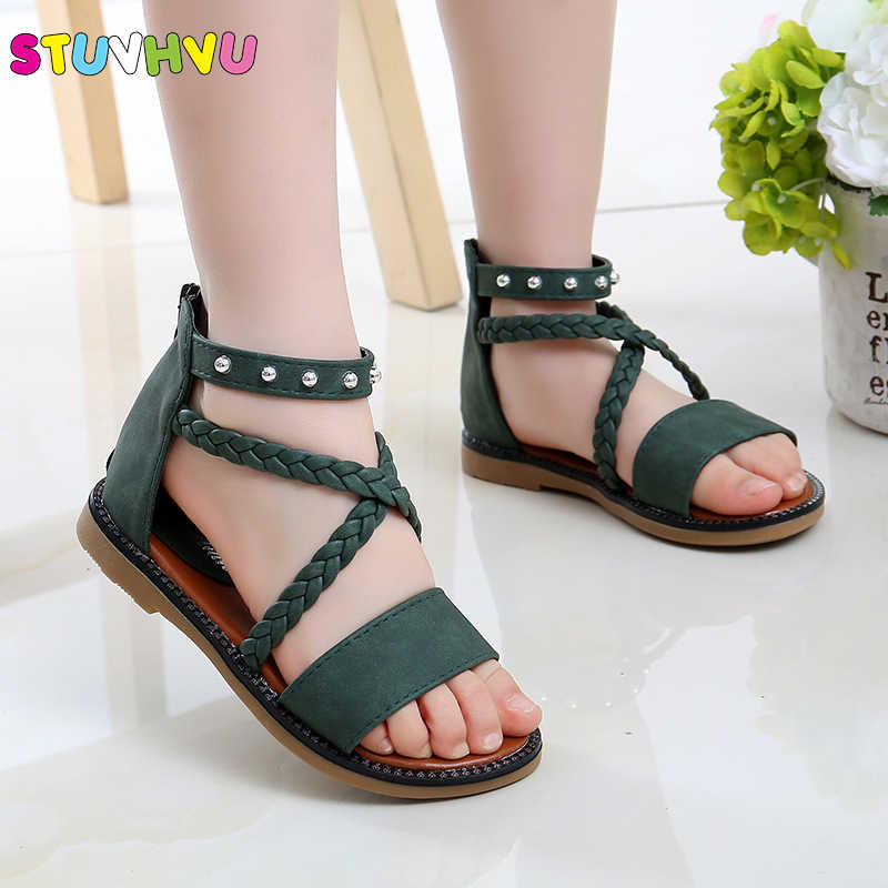 Girls Comfortable Summer Sandals 2019 New Fashion Princess Shoes Children Soft Bottom Beach Shoes Children's Roman Green Shoe