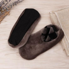 Мужские плотные зимние теплые носки-башмачки, Нескользящие эластичные домашние носки-Тапочки