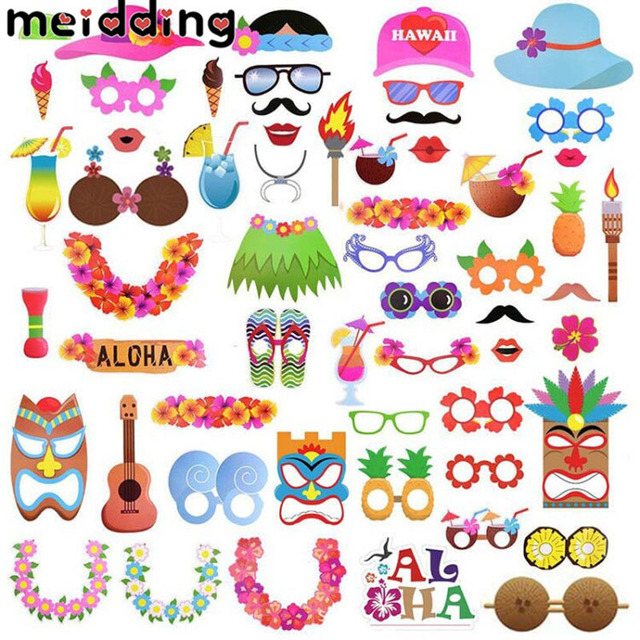Meidding Hawaii Theme Party Photo Booth Props Birthday Supplies