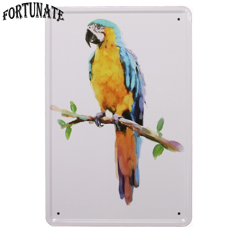 New Beautiful Parrot Art Tin Sign Metal Signs Home Decor Vintage Tin Signs  Pub Vintage Decorative Plates Metal Wall Art Plaques In Plaques U0026 Signs  From Home ...