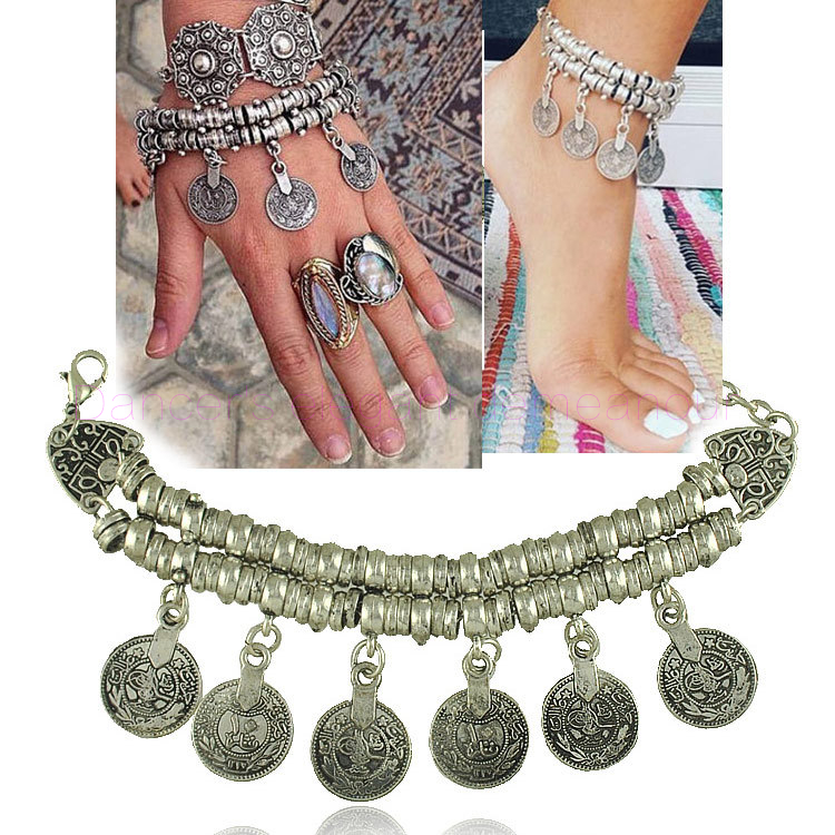 NEW! Belly Dance Accessories Coins Belly Dance Anklet/Bracelet Ladies Sandy Beach Accessories Sandy Beach  Anklet/Bracelet 1pair