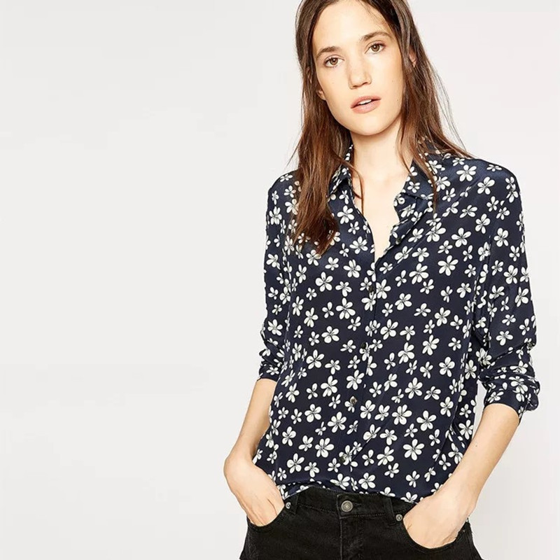 Women Flower Print Silk Blouse Spring Autumn Long Sleeve Soft Femme Chemise Shirt Top Red Dark