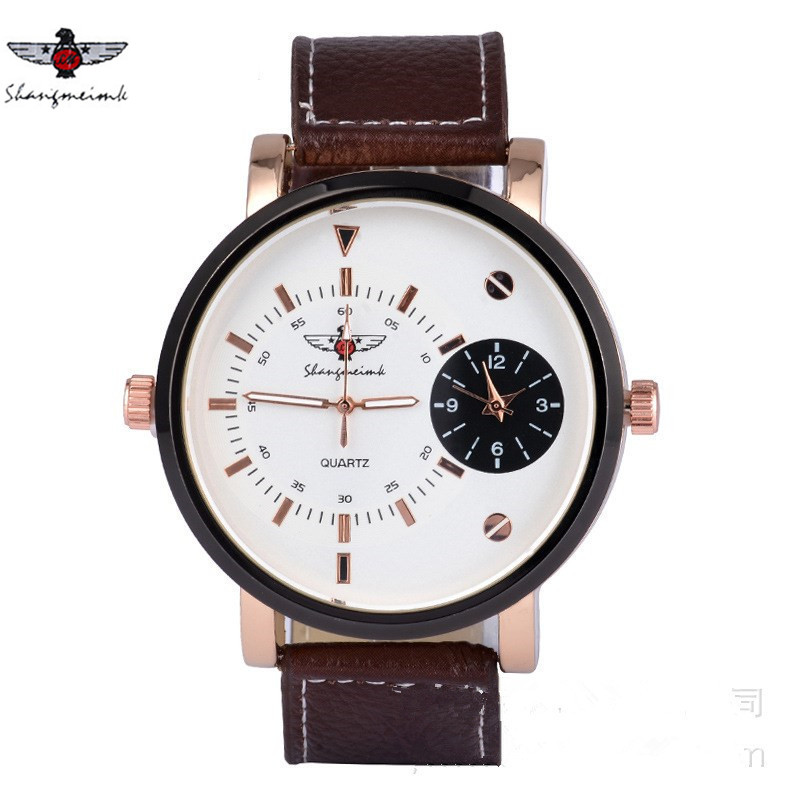 New Fashion Watch Men Leather Strap Creative Ultra Brief Double Pointers Dial Casual Quartz Wristwatch Individuality Clock 2017 цена