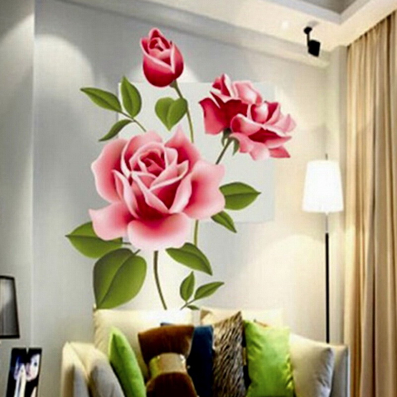Fashion home decor room decals romantic love 3d rose for Home decor 3d stickers