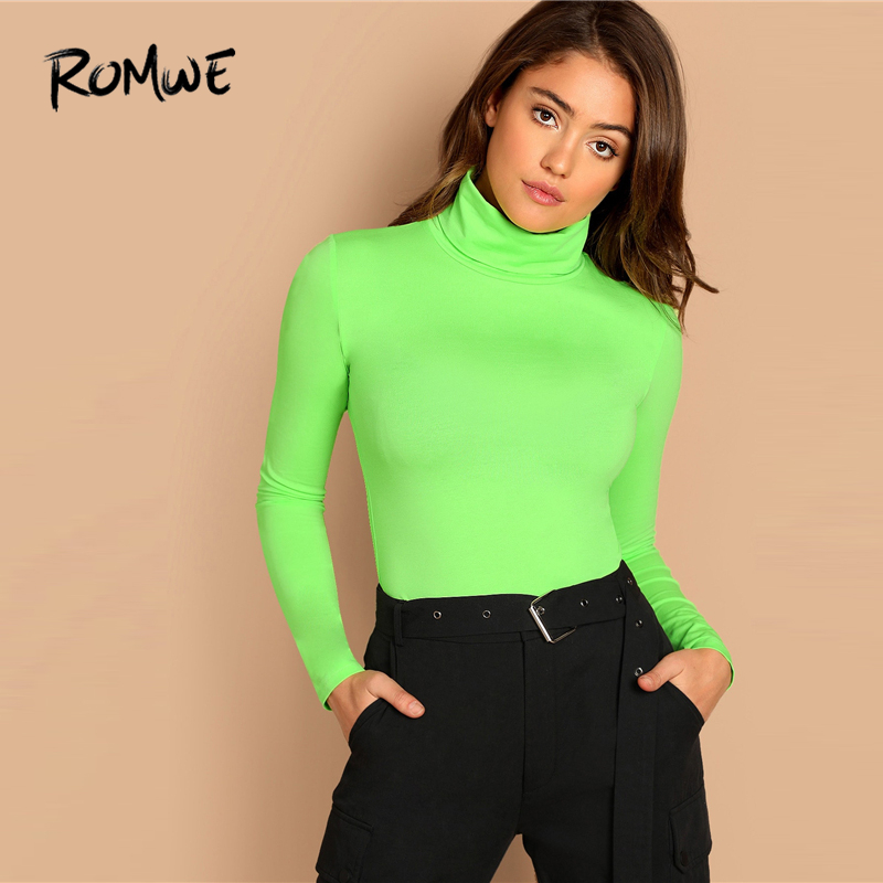 ROMWE High Neck Neon Lime Form Fitted Tee 2019 Green Spring Autumn Women T-shirt Long Sleeve Sexy Female Slim Fit T Shirt