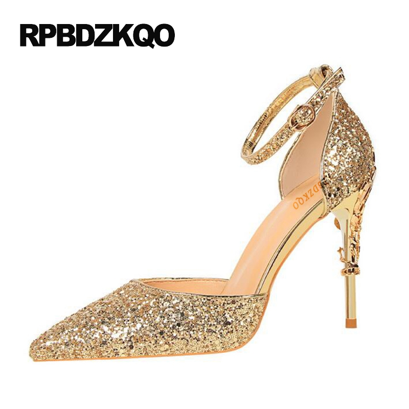 e25b6c8a7 Ankle Strap Glitter Golden Thin Silver High Heels Gold Wedding Shoes Pumps  Size 4 34 Ladies Sequin Bling Strange Pointed Toe