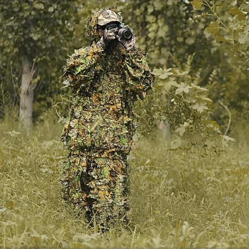 新しい狩猟の Ghillie スーツ 3D 迷彩バイオニック葉迷彩ジャングル森林バードウォッチングポンチョマント狩猟服