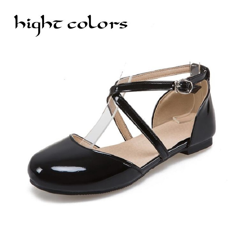 Sweet  Designer Patent Leather Shoes Women Flats Round Toe Ballet Flats Cross Strap Boat Shoes Ladies Beige Black Red Size 33~43 designer women loafers flower genuine leather shoes ladies moccasins ballet flats round toe casual zapatos mujer size 35 44