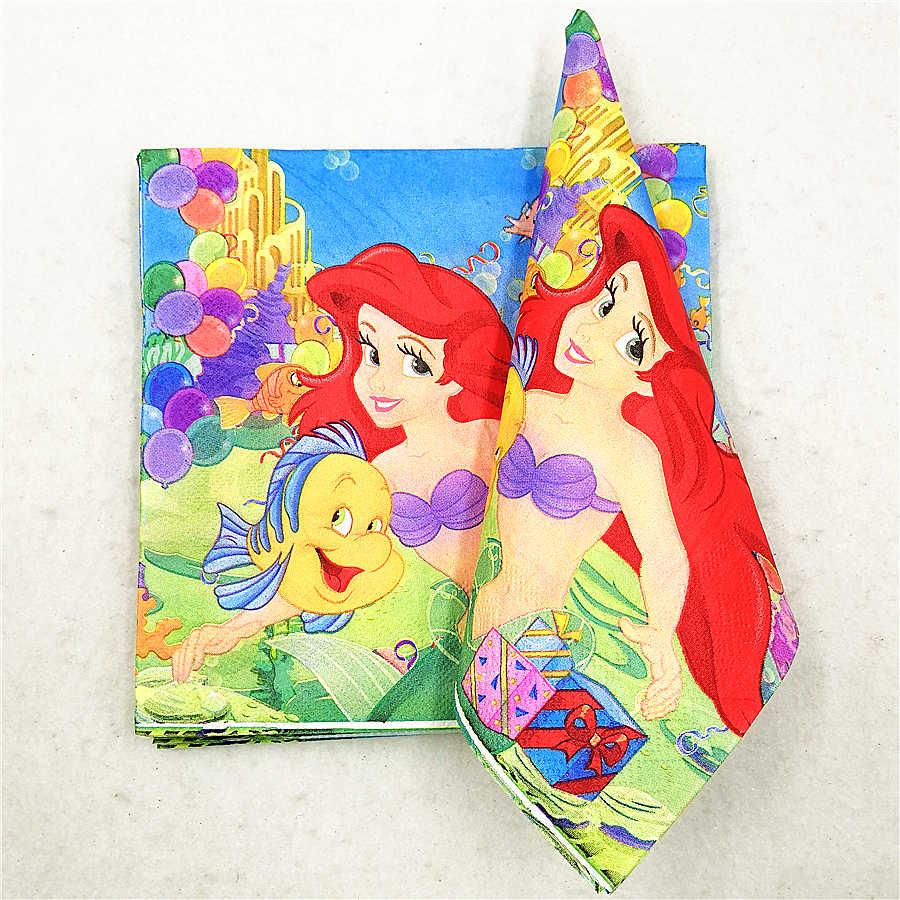 20 p/set mermaid party supplies baby shower papel servilleta tejido boda vajilla desechable favor niños cumpleaños fiesta Decoración